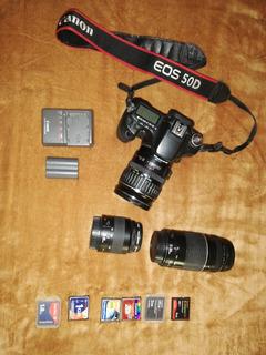 Canon 50d Con 3 Lentes 2 Pilas 6 Tarjetas De Memoria