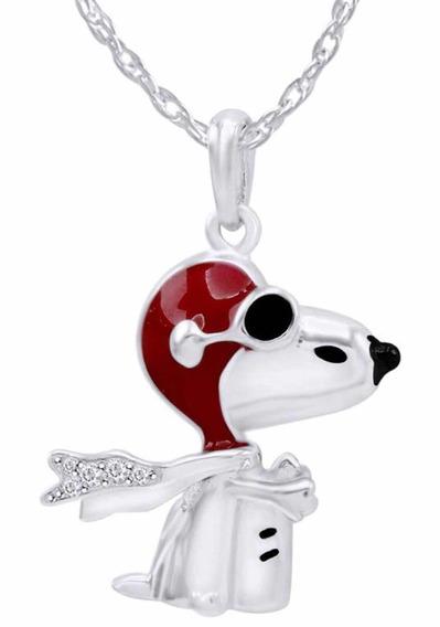 Collar De Snoopy Oro Blanco Original
