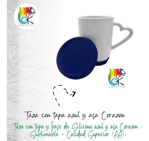 Taza Con Tapa Base De Silicona Azul Y Corazon - Ok Creativo