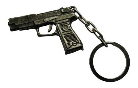 Chaveiro De Metal Pistola Glock Cromado