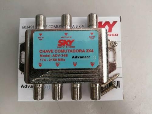 Chave Comutadora 3x4 Sky Sd E Promoção Hdtv