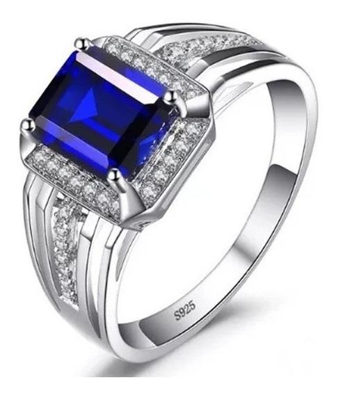 Anel Masculino Prata 925 Elegante Luxo Pedra Safira Natural