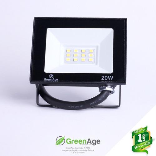Refletor Led Verde Smd 20w Prova D'água Bivolt