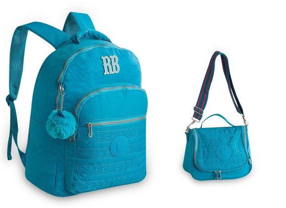 Kit Mochila + Lancheira Rebecca Bonbon Crinkle Rb9128 - Azul