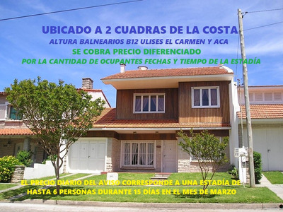Excelente Chalet A 2 Cdras.de La Costa Altura Baln.el Carmen