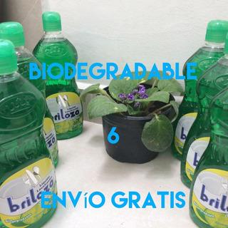6 Briloza Lava Trastes Liquido Biodegradable Limon De Colima