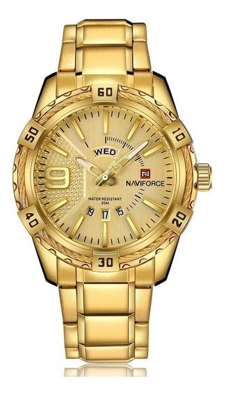 Relógio Masculino Dourado Original Naviforce Nf9117 Barato