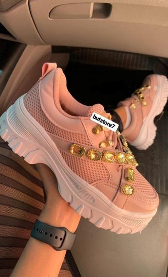 Tênis Feminino Chunky Sneaker Rosê Com Pedras Lançamento
