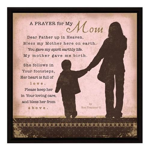 Oración...para Mi Mamá, Placa Con Marco De Madera Caballete