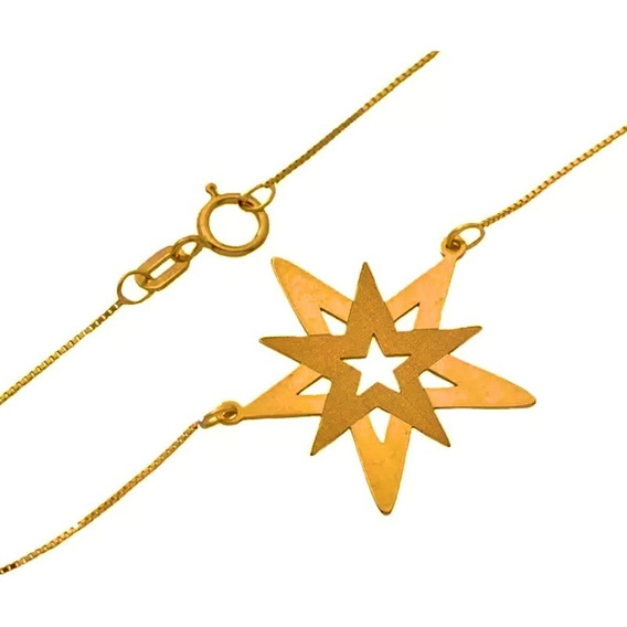 Corrente Feminina Ouro 18k Pingente Estrela De Davi 10 Pontas 45cm + Porta Joias 1912