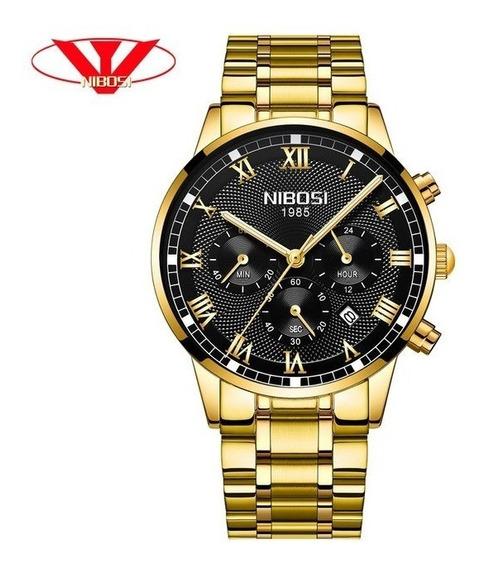 Relógio Masculino Nibosi 2339 Original 30m Dourado C/preto