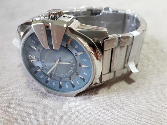 Relógio Original Diesel Prata Com Azul Acinzentado 10 Bar