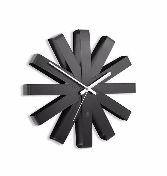 Reloj De Pared Cuarzo Moderno Importado Acero Inoxidad Negro