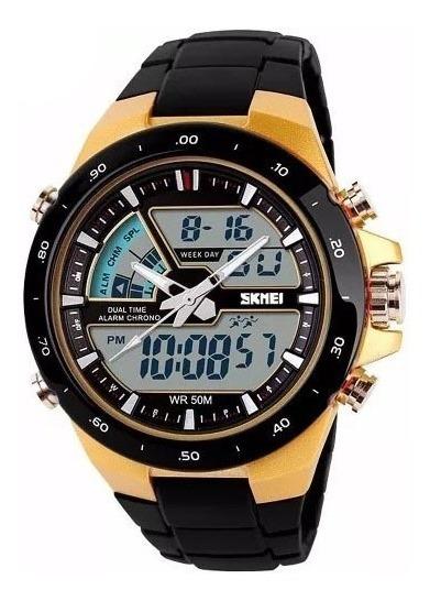 Relógio Masculino Sport Digital Wr Cromado Skmei 1016