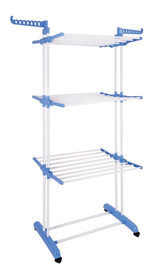 Tender Aluminio Vertical Tendedero Ropa 3 Niveles Ruedas