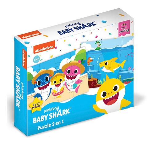 Rompecabezas Puzzle 2 En 1 Baby Shark 6 Y 12 Pzas Bbs102 Edu