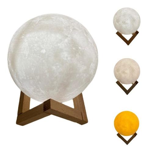 Luminária Lua Cheia 3d 15 Cm Usb Touch