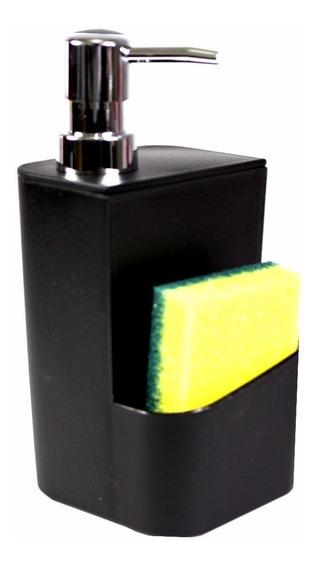 Dispenser Para Detergente Esponja Preto 650ml Sabão Líquido