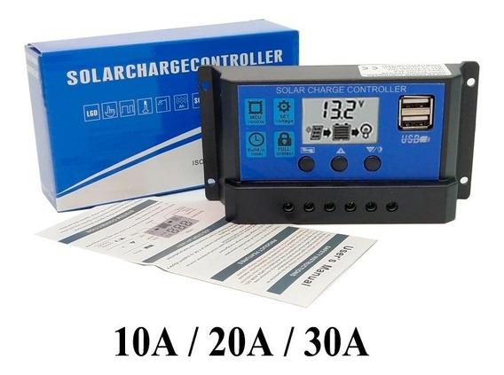 Controlador Carga Solar P/ Painel De 30a 12e24v Lcd E 2 Usb