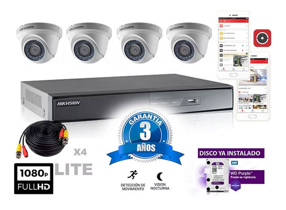 Kit Hikvision Dvr 4 Ch + 4 Domos + Disco + Cable Cuotas
