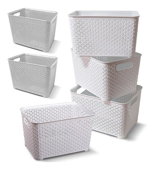 Canastos Organizador Plastico Rattan Mediano X 6 +(cts)
