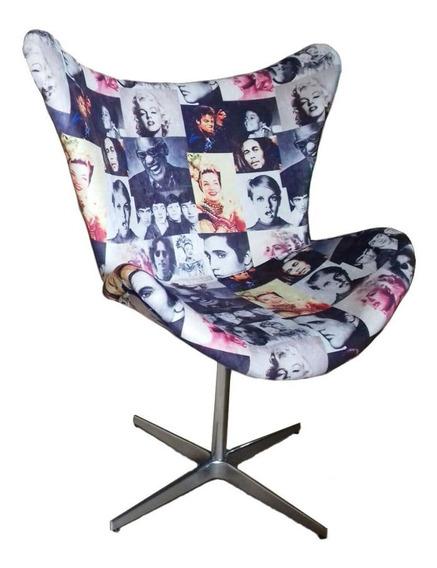 Cadeira Poltrona Giratória Mini Egg Estampa Artistas