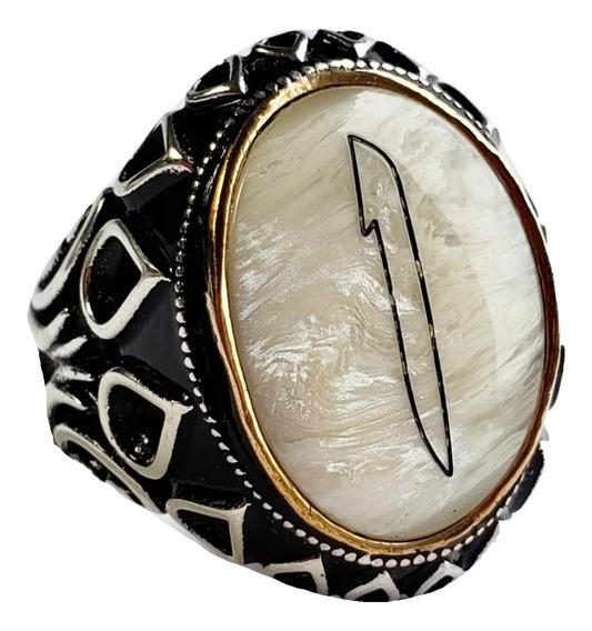 Anillo Turco Otomano Plata 925 Perla Hombre #105374