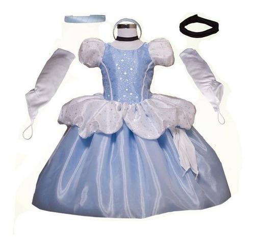 Imagen 1 de 3 de Vestido, Disfraz Cenicienta Vestido, Zapatos Y Peluca