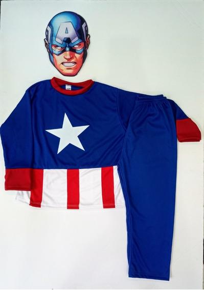 Disfraz Infantil Capitán América Con Máscara
