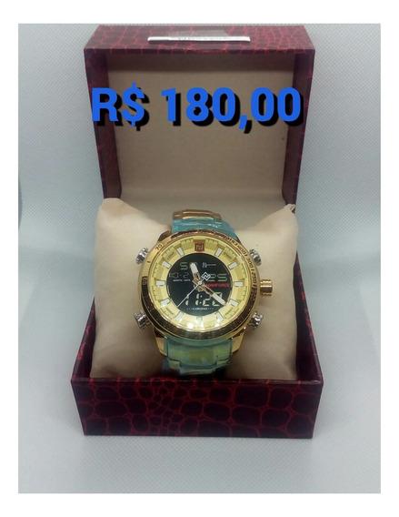 Relógio Naviforce 9093 Luxo Inox Original Novo Dourado