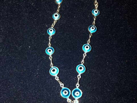 Pulseira Prata 925 Legítima Olho Turco Grego Azul 18,5cm
