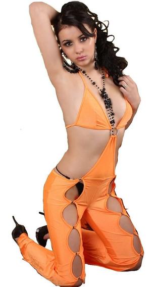 Moda Sexy Body Color Naranja Aberturas Moda 8535