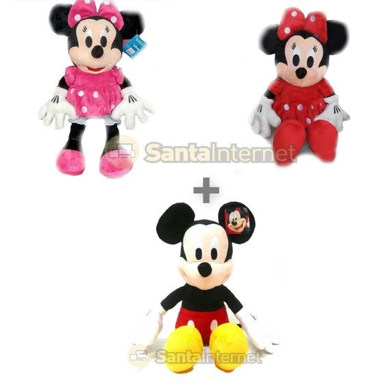 Kit 3 Pelúcias 50cm Minnie Rosa E Vermelha E Mickey