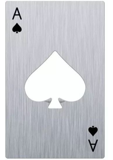 Destapador Carta Poker As De Espadas Acero Inoxidable