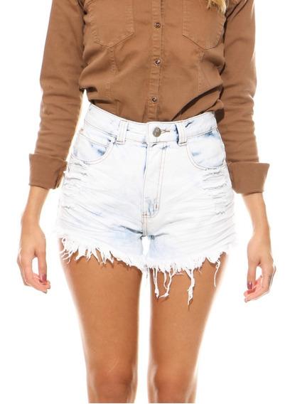 Shorts Jeans Feminino Cintura Alta Short Cos Alto Anita