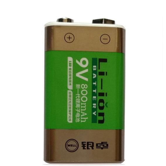 Bateria De 9v Recarregável De Lithium 800mah Kit C/2und