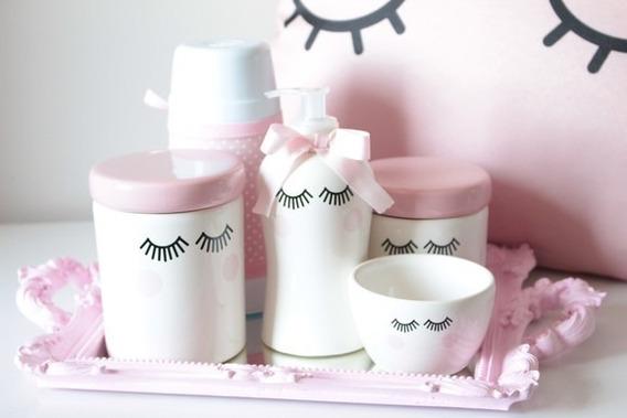 Kit Higiene Bebe Cilios Rosa Bandeja Resina C/ Garrafa Termica