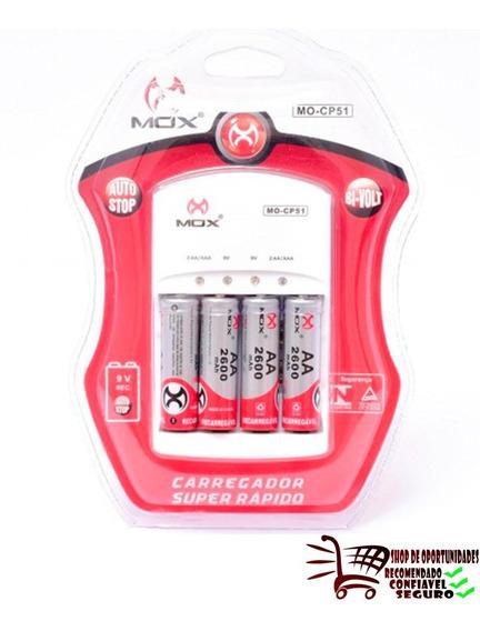 Carregador Pilha Bateria Cp51 Mox + 4 Pilhas 2600 Mah Origi.