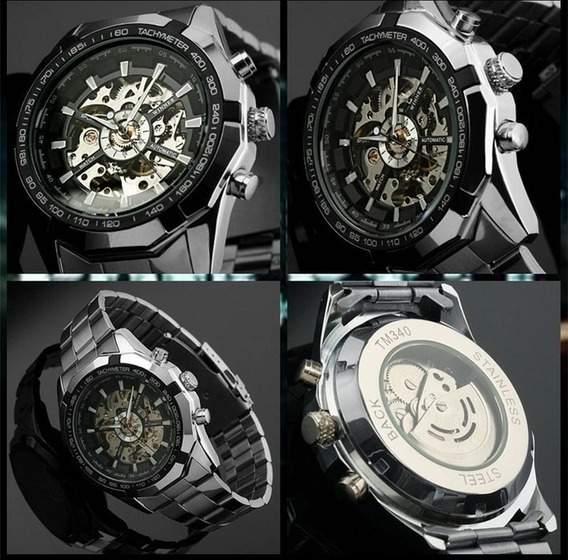 Relógio Masculino Forshing Esqueleto Automatico Luxo
