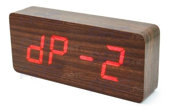 Relógio Digital Mesa Tipo Madeira C/ Data Temperatura Alarme