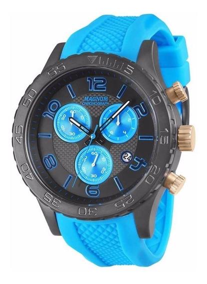 Relógio Magnum Masculino Cronógrafo Ma33504f Azul Aço Oferta