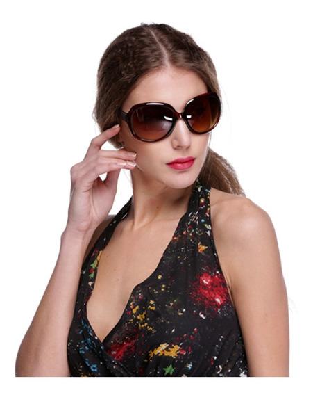 Óculos De Sol Feminino Marrom Borboleta Polarizado Uv400