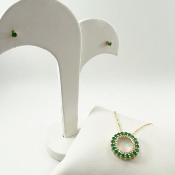Juego Collar- Broqueles En Oro 14k Con Esmeralda Y Brillante
