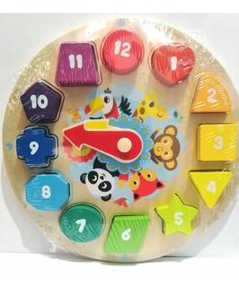 Juguete Didáctico De Madera Reloj Con Formas Y Colores