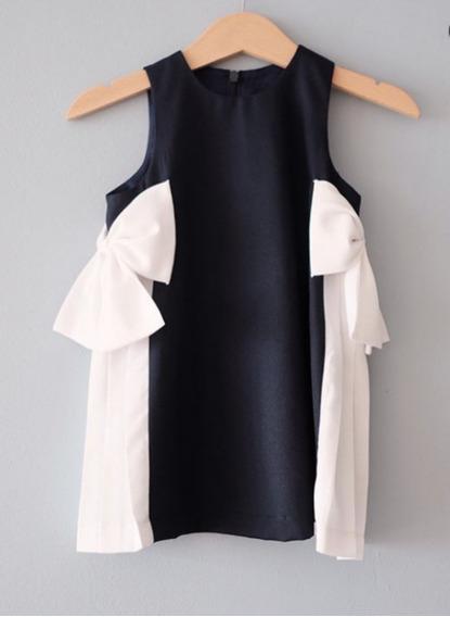 Vestido Infantil Para Bebê Com Laço Preto E Branco