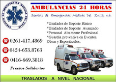 Servicio Traslado En Ambulancia En Maracaibo A Todo El Pais