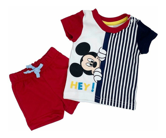 Conjunto Algodón Playera Y Short Estampado Hey Mickey