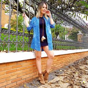Camisão Feminino Jeans Camisa Alongada Jaqueta Jeans 2504