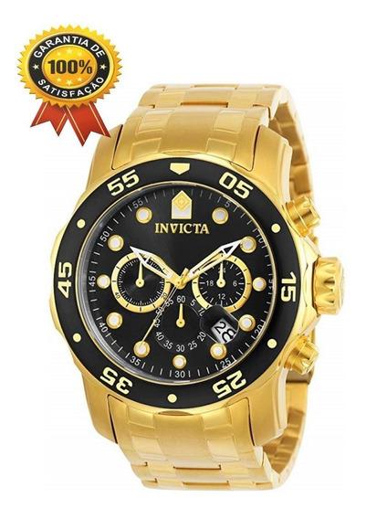 Relógio Invicta Pro Diver 0075 Ouro 18 K Ouro/preto