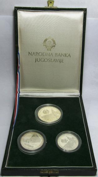 Yugoslavia Estuche 3 Monedas 500 A 1500 Dinara Plata 1981